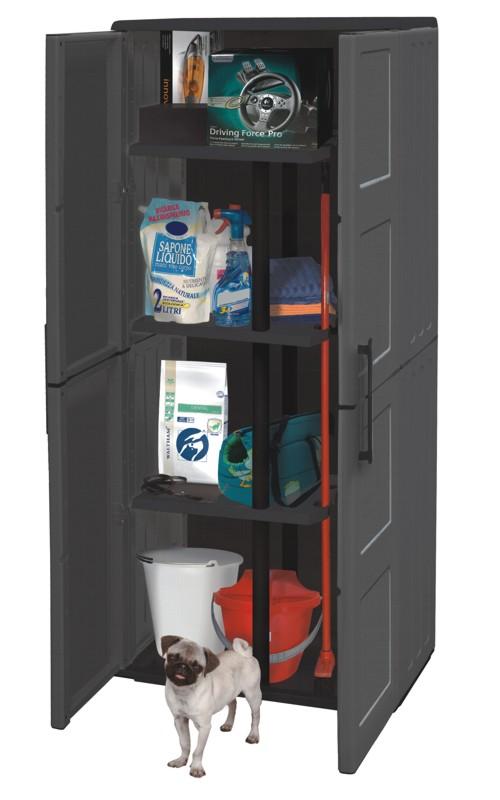 kunststoffschrank gartenschrank besenschrank werkstatt schrank hoch free line ebay. Black Bedroom Furniture Sets. Home Design Ideas